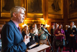 Mike Baker speaks at the House of Commons for the launch of Common Ground