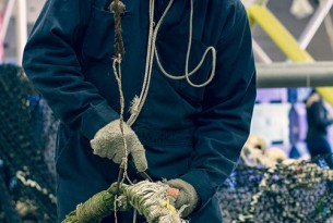 Staff at Steveston Harbour in B.C. demonstrate their fishing net recycling program