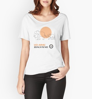White t-shirt with elephant line drawing design.