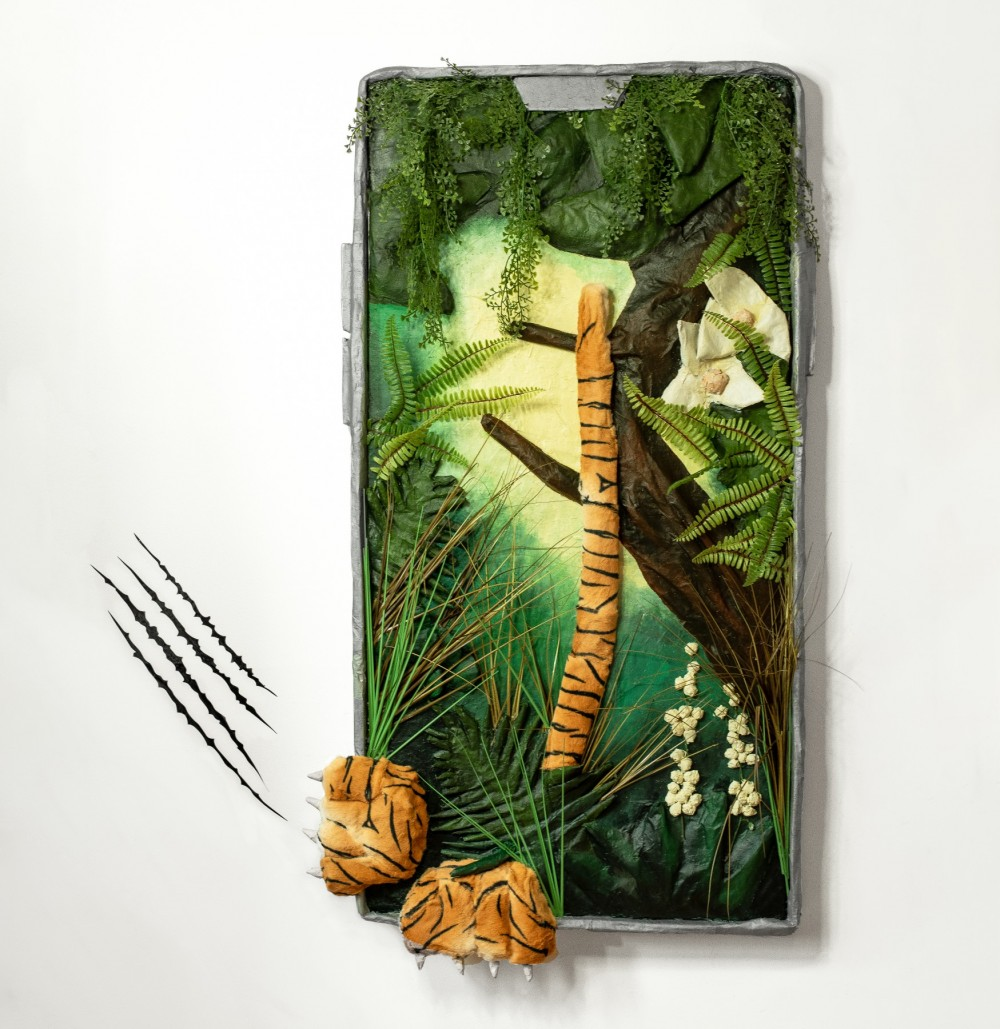 Mixed media artpiece by Briony Douglas of a tiger trying to escape a selfie phone frame
