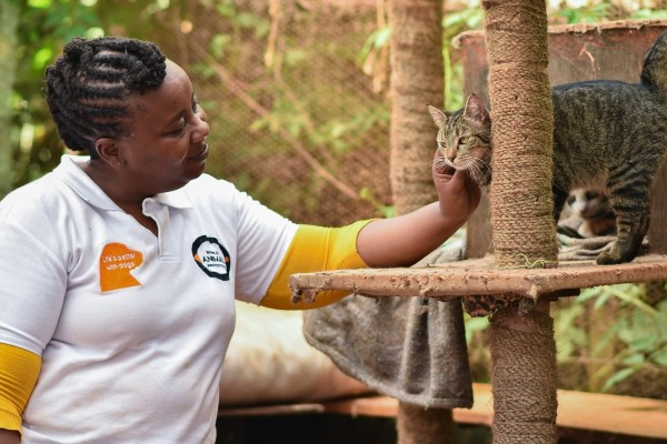 Emily Mudoga with a cat in Kenya - World Animal Protection