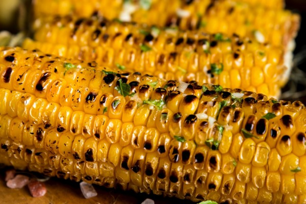 Roasted and charred corn from the grill