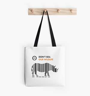 White tote bag with rhino barcode design.
