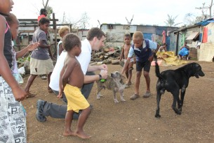 Our team feeds Snoopy and Blackie in Port Vila, Vanuatu