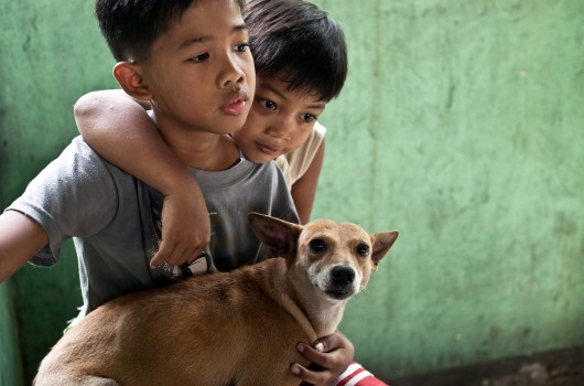 Children bring their dog to the free vaccination clinic in Cainta, Philippines.