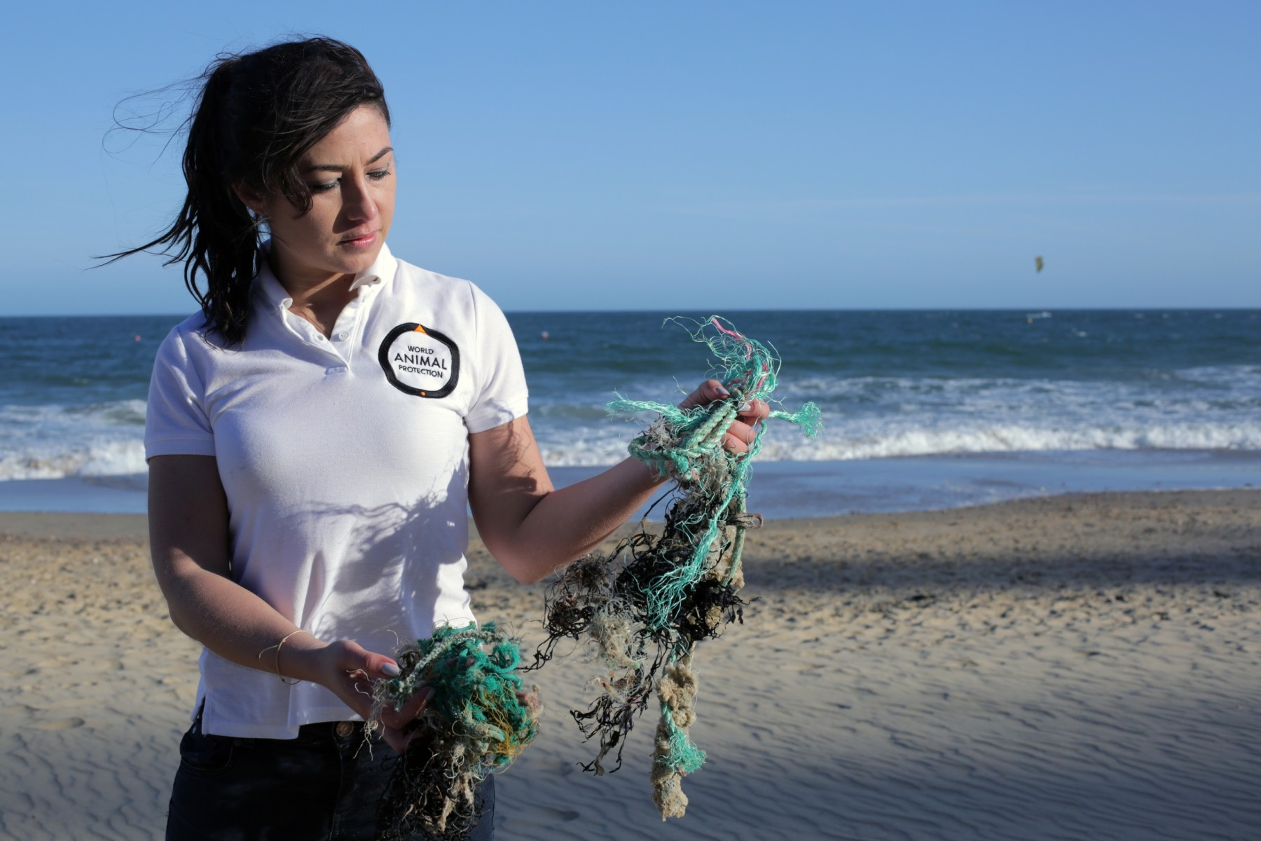 Joanna Toole holding ghost gear on a beach - World Animal Protection - Animals in the wild