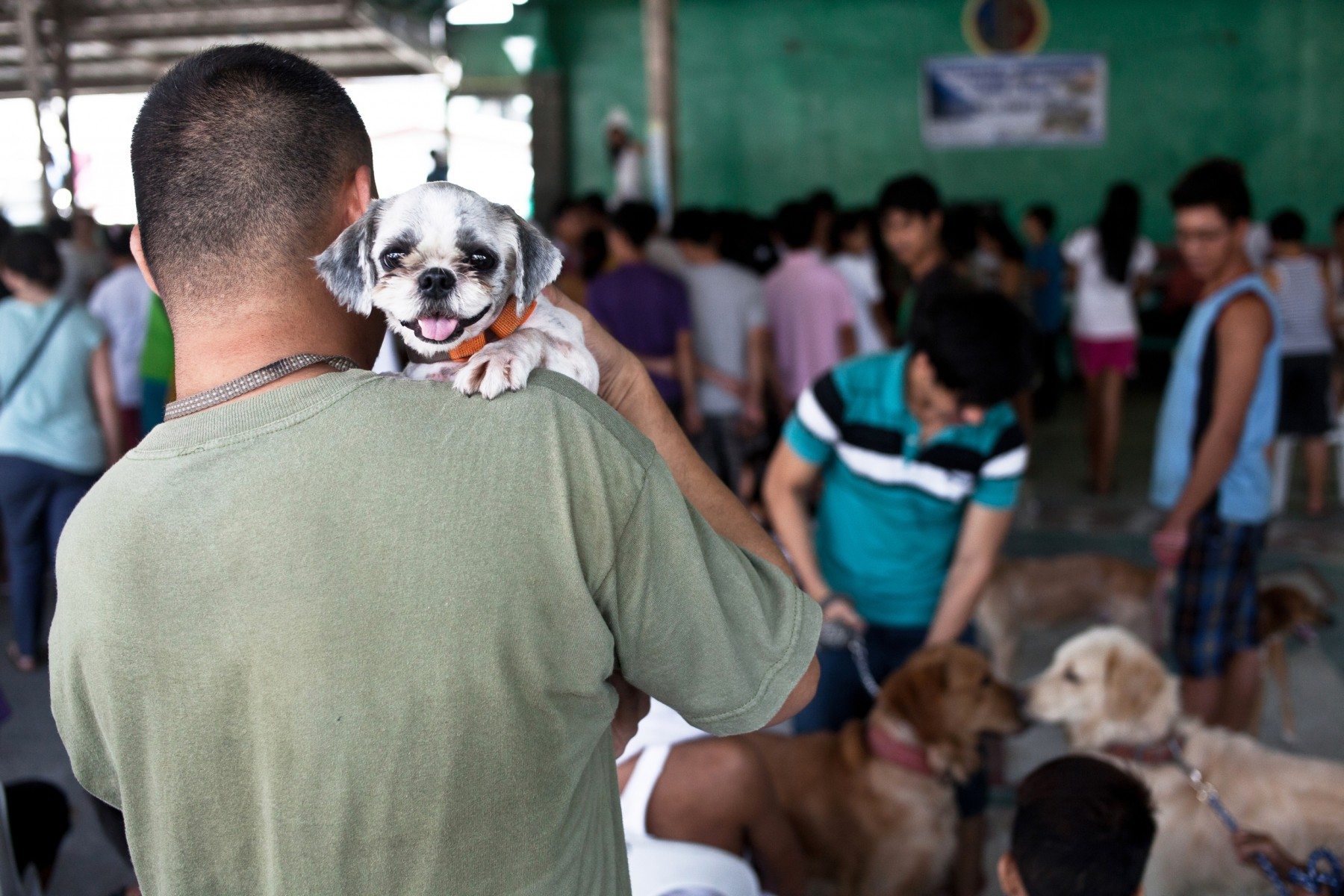 Owner holding his dog at a rabies vaccination drive in the Philippines - World Animal Protection