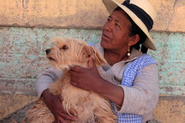 Herlinda and Luna, her dog. Puno, Perú. World Animal Protection has been giving a workshop to local school teachers on dog bite prevention.