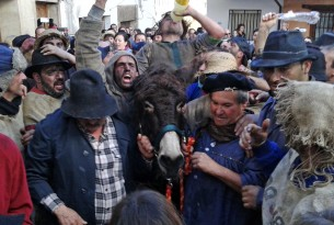 A donkey is traumatised in the Pero Palo festival