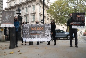 Representatives from Campaign to End Wildlife Trade at petition hand in to 10 Downing Street
