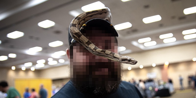 A bearded man wearing a baseball hat poses for a photo with a pet snake over his head.