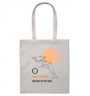 Heavy Duty Canvas Tote Bag with dolphin design.