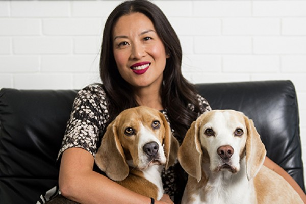 Lainey Lui with her two dogs, Barney and Elvis