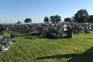 Bikes lined up at the IRONMAN 70.3 Eagleman