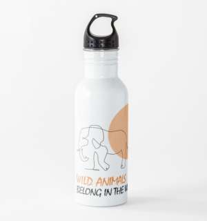 Water bottle with elephant line drawing design.