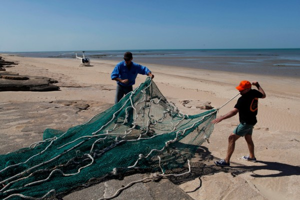 World Animal Protection staff with ghost nets located during an aerial survey in Australia's Gulf of Carpentaria.