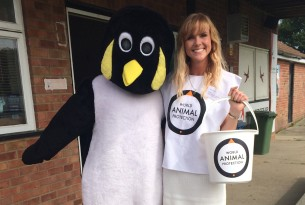 A woman posing with a penguin and collecting money for chairty