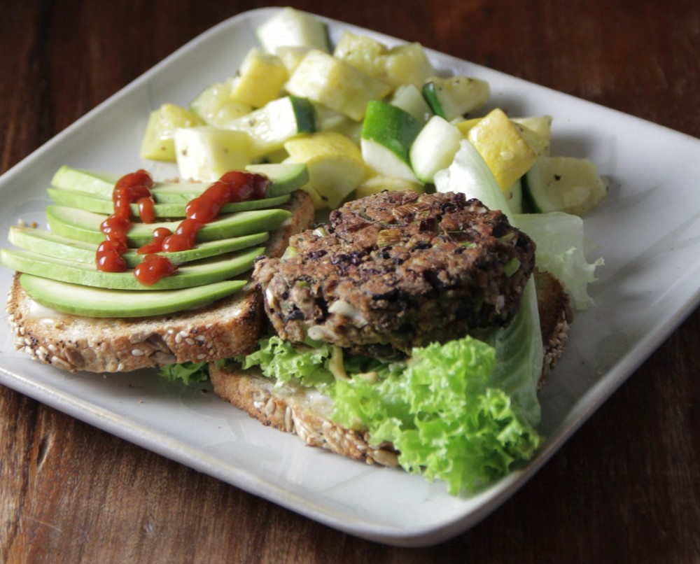 Veggie burger with avocado