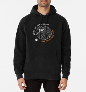 Black hoodie with pangolin design.