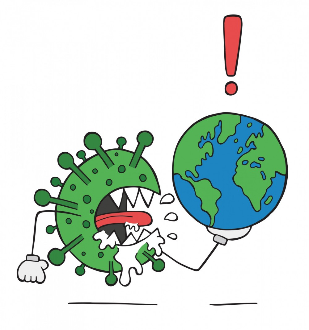 Coronavirus holding the planet earth and harming it