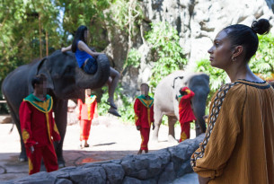 Alesha Dixon witnesses elephant riding in Thailand