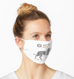 White face mask with lion barcode design.