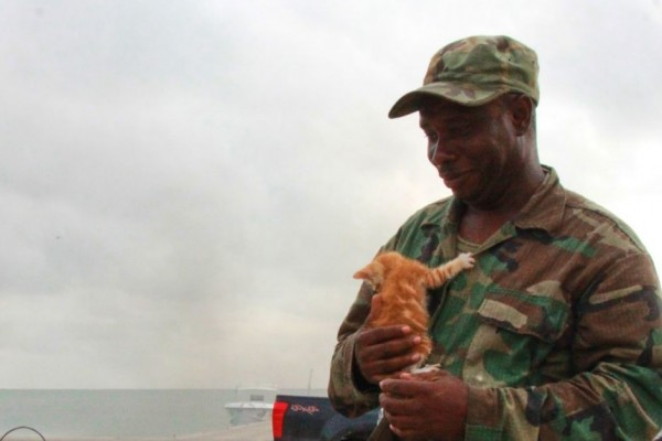 Corporal Williams with Irma the kitten in Barbuda - World Animal Protection - Disaster management