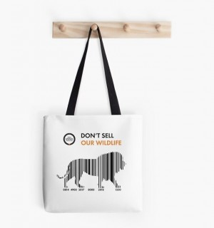 White tote bag with lion barcode print.
