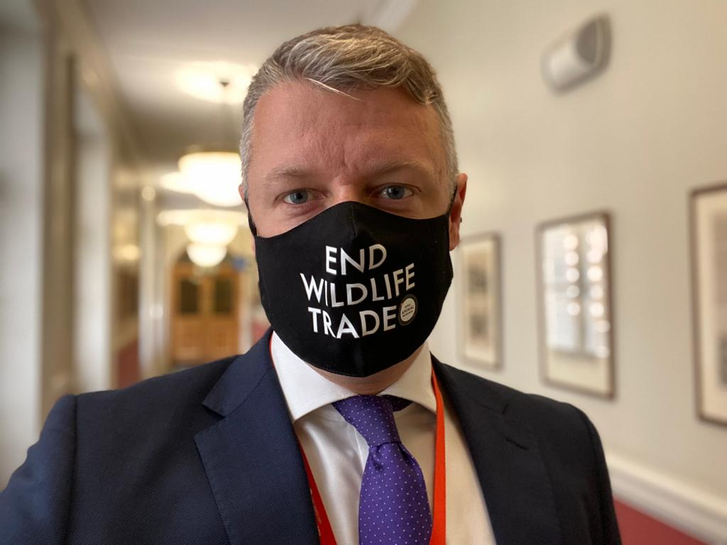 Luke Pollard MP in mask