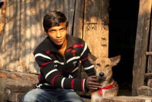 Man with dog in Bangladesh