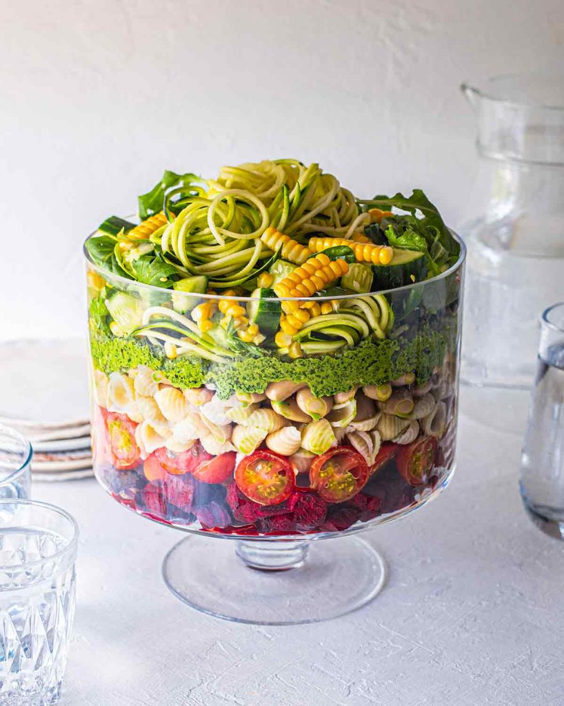 Vegan pasta salad with pesto from Rainbow Nourishments blog.