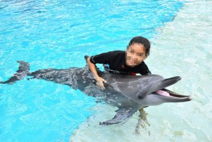 Girl with dolphin at cruel attraction - Wildlife. Not Entertainers - World Animal Protection