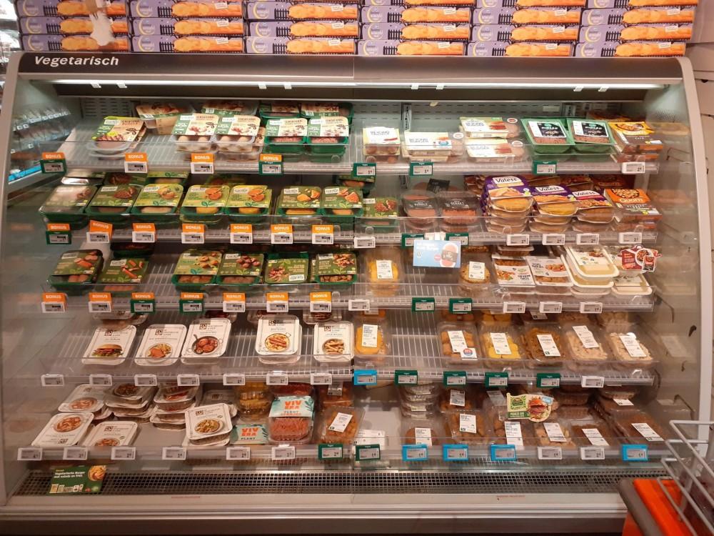 Meat alternatives in supermarket fridge - World Animal Protection